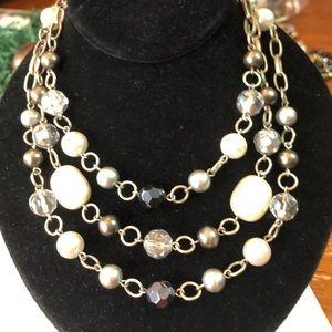 Lia Sophia,Silver&black beads & chains